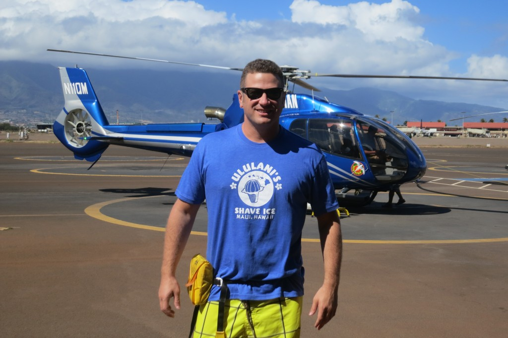 Ready to board at Blue Hawaiian Helicopters on Maui