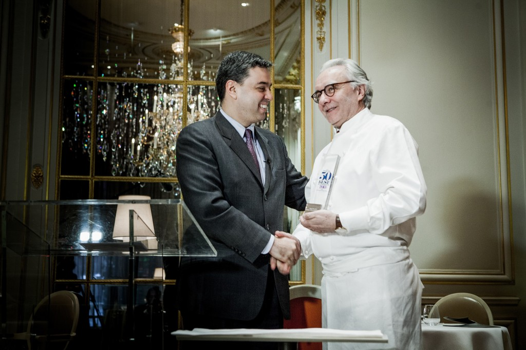 Alain Ducasse, Eduardo Tobon, Lifetime Achievement Award, The World's 50 Best Restaurants Awards 2013, Guildhall, London, Diners Club, Diners Club International