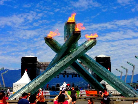 2010 Winter Olympics cauldron, torch, Vancouver
