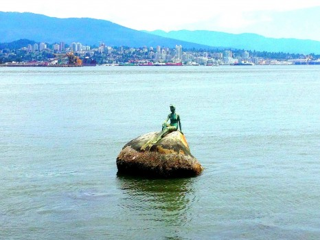 walking the seawall in stanley park, vancouver, british columbia, mermaid statue