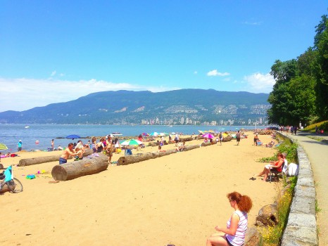 walking the seawall in stanley park, vancouver, british columbia, third beach