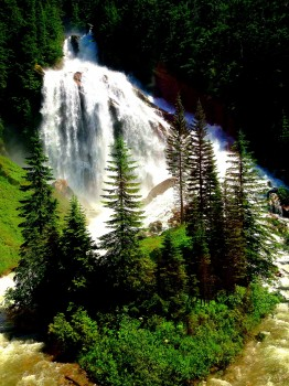 Pyramid Waterfall, Rocky Mountaineer, train, Canada, Vancouver, Jasper, British Columbia, Alberta