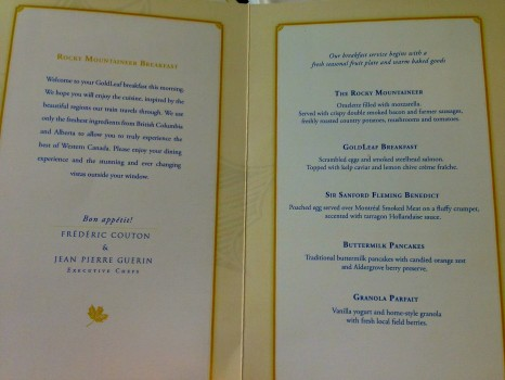 Goldleaf menu, Rocky Mountaineer, train, Canada, Vancouver, Jasper, British Columbia, Alberta