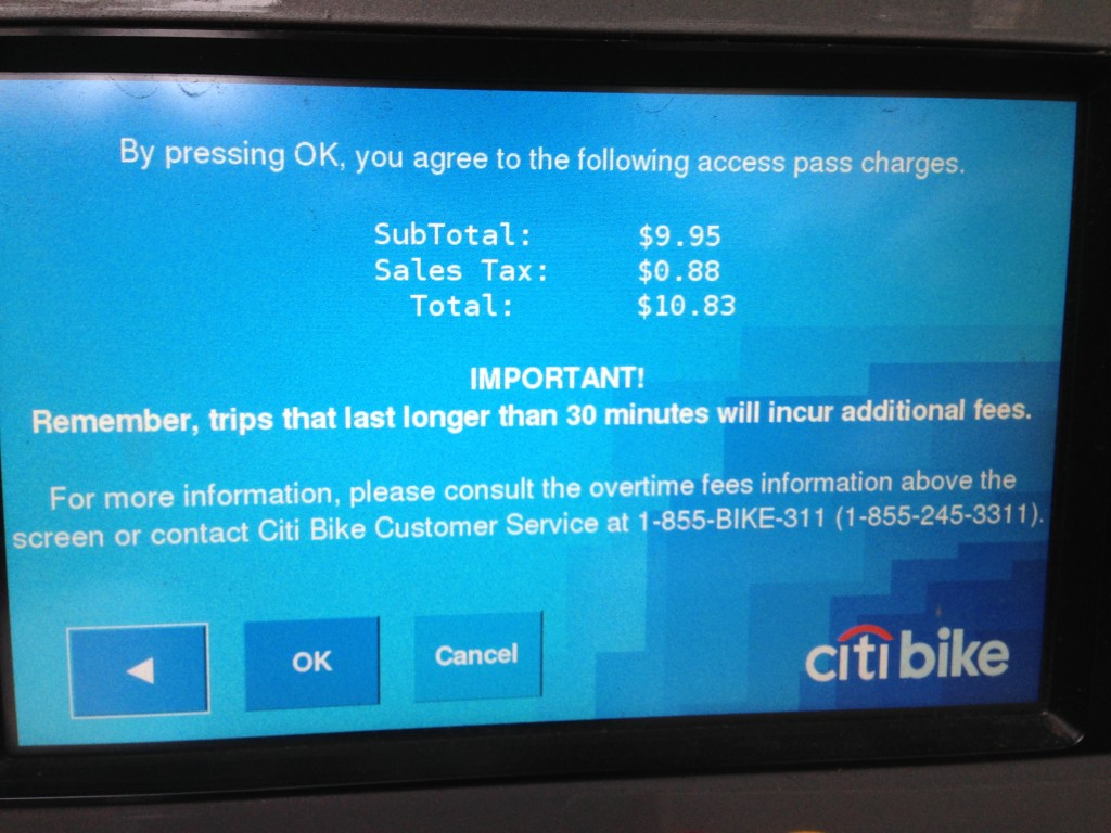 Citi Bike pay screen, New York