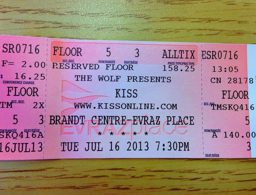 Regina, Saskatchewan, KISS ticket
