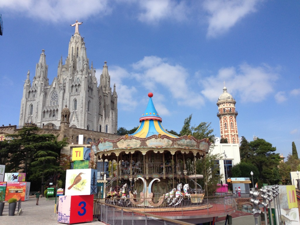Tibidabo, amusement park, view, Barcelona, Spain, vista