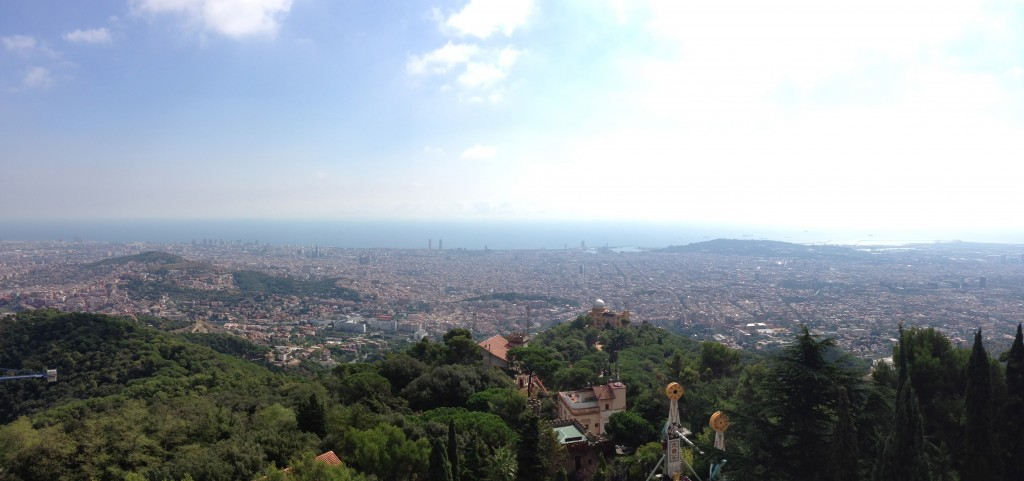 Tibidabo, church, view, Barcelona, Spain, vista, panoramic view of Barcelona