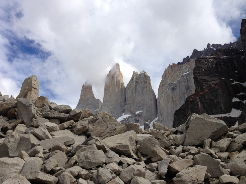 First view up the steep rocks of Torres Del Paine