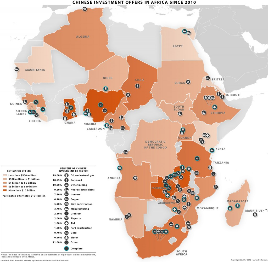 Chinese Investment in Africa map