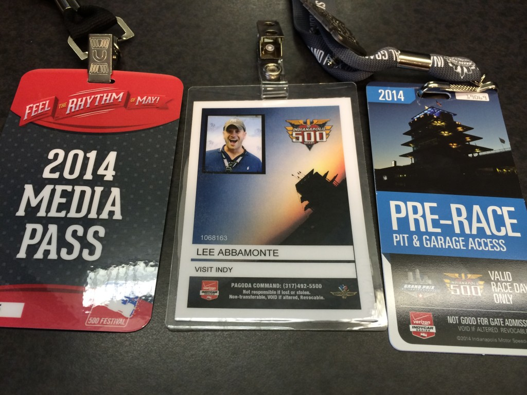Media Passes, Indy 500