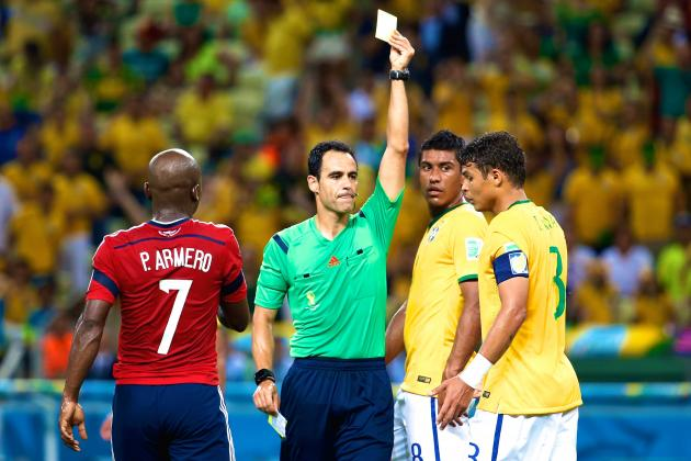 thiago silva yellow card, brazil