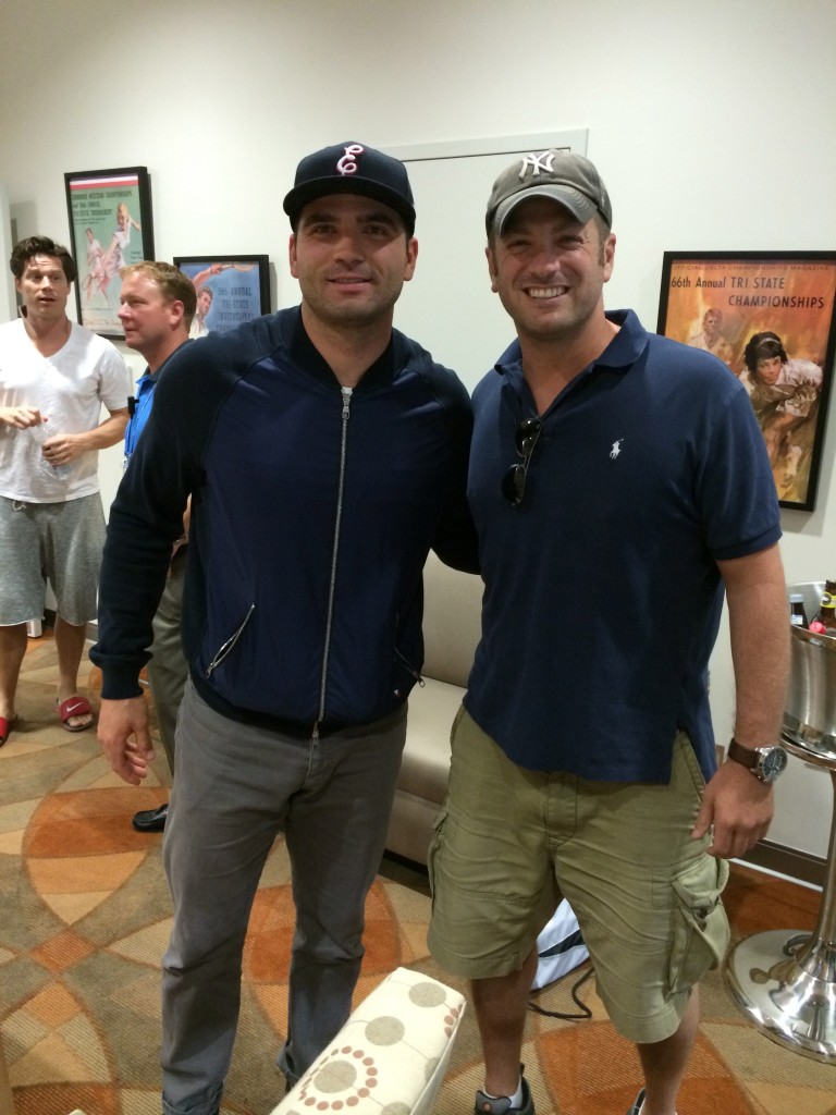 Lee Abbamonte with Cincinnati Reds former MVP Joey Votto at the Cincinnati Masters tennis.