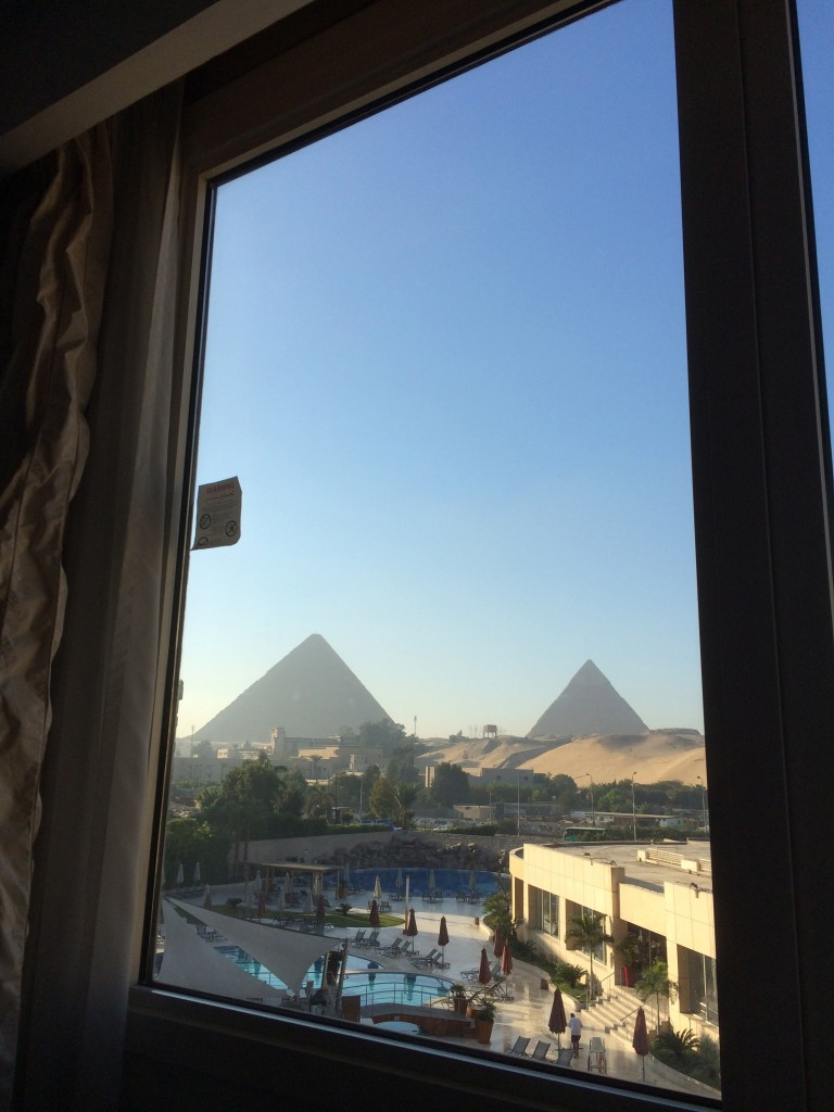 view from bed, Le Meridien Pyramids, Cairo, Egypt