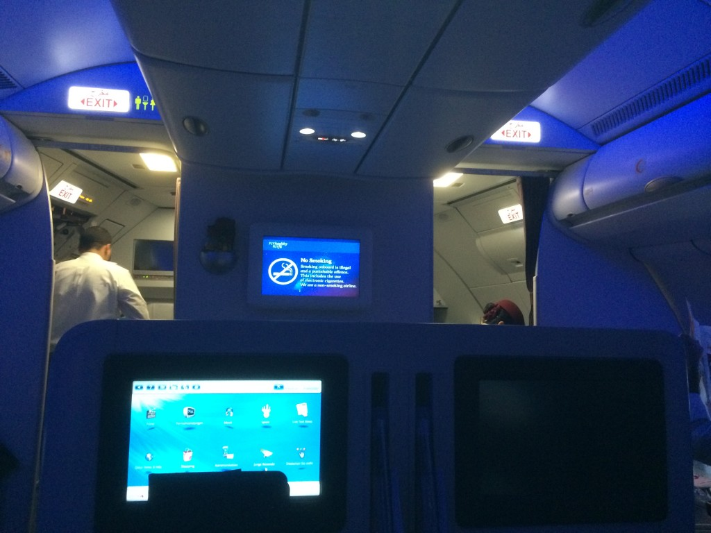 Qatar Airways business class, in dark