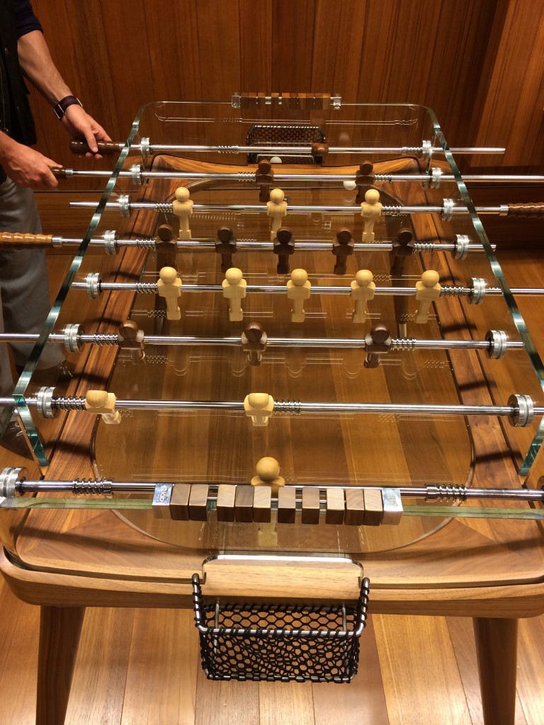 Qatar Airways business class, foosball table