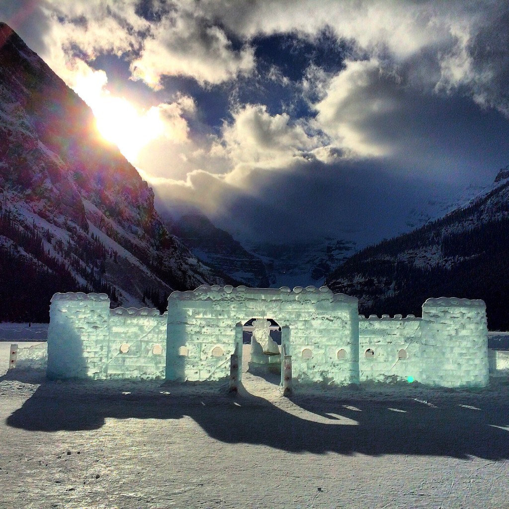 Lake Louise, ice castle, Banff, Alberta, Canada, pond hockey