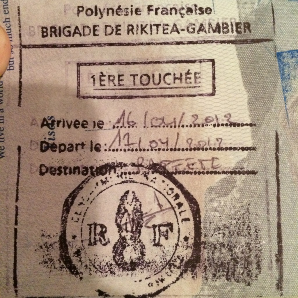 Passport Stamp, French Polynesia, Gambier Archipelago