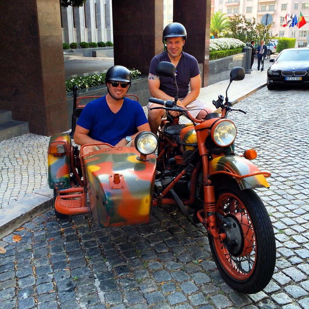 Lee Abbamonte, Dennis O'Connell, sidecar tour, Lisbon, Portugal