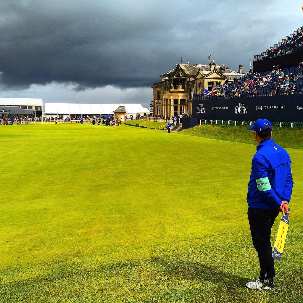 Old Course, 2015 Open Championship, St Andrews, Scotland, 18th green, 1st tee