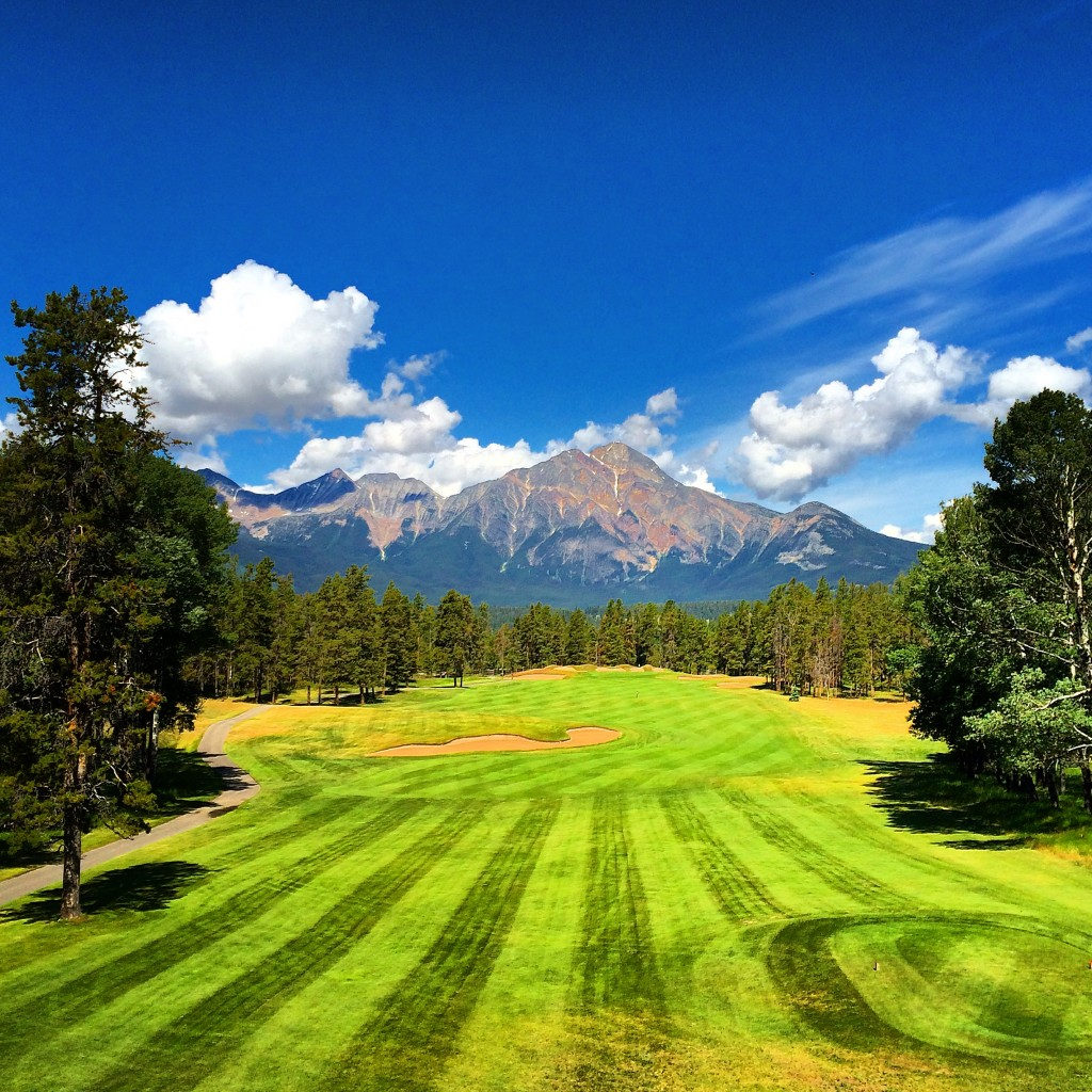 Fairmont Jasper Park Lodge, Jasper, Alberta, Canada, Golf Course, view, canadian Rockies