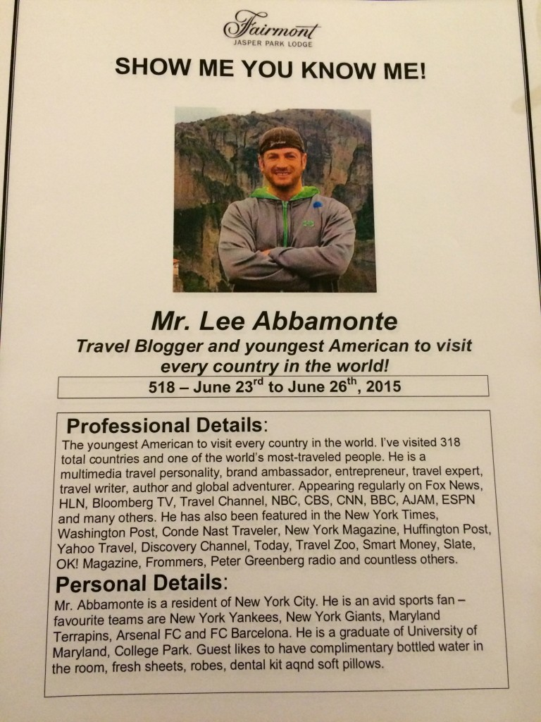 Lee Abbamonte, Show Me You Know Me, Fairmont Jasper Park Lodge, Jasper, Alberta, Canada