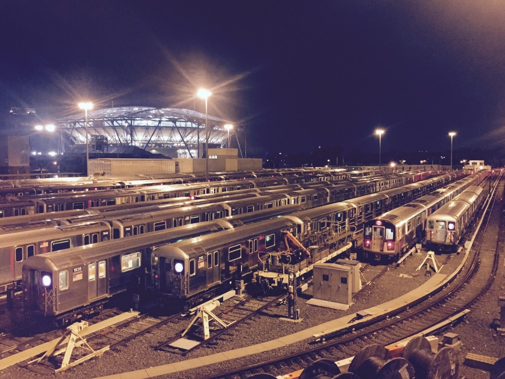 7 trains in front of Arthur Ashe Stadium