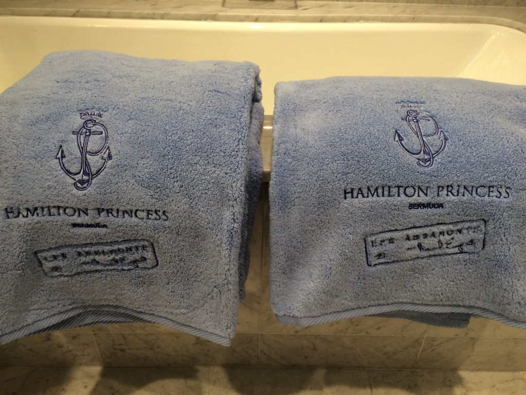 Fairmont, Hamilton Princess, Bermuda, personalized towels