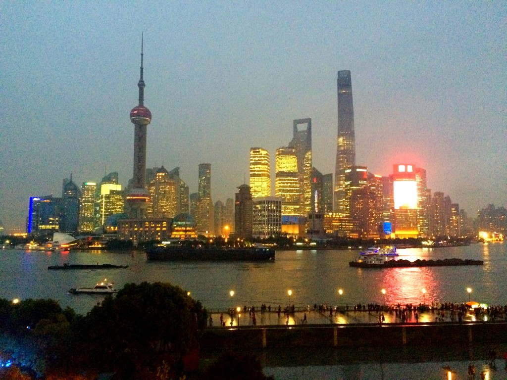 The Bund, Fairmont Peace Hotel, Shanghai, China, Pudong, twilight