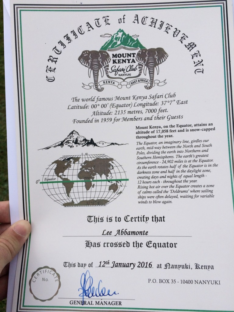 Fairmont Mount Kenya Safari Club, Kenya, certificate of crossing the equator, equator