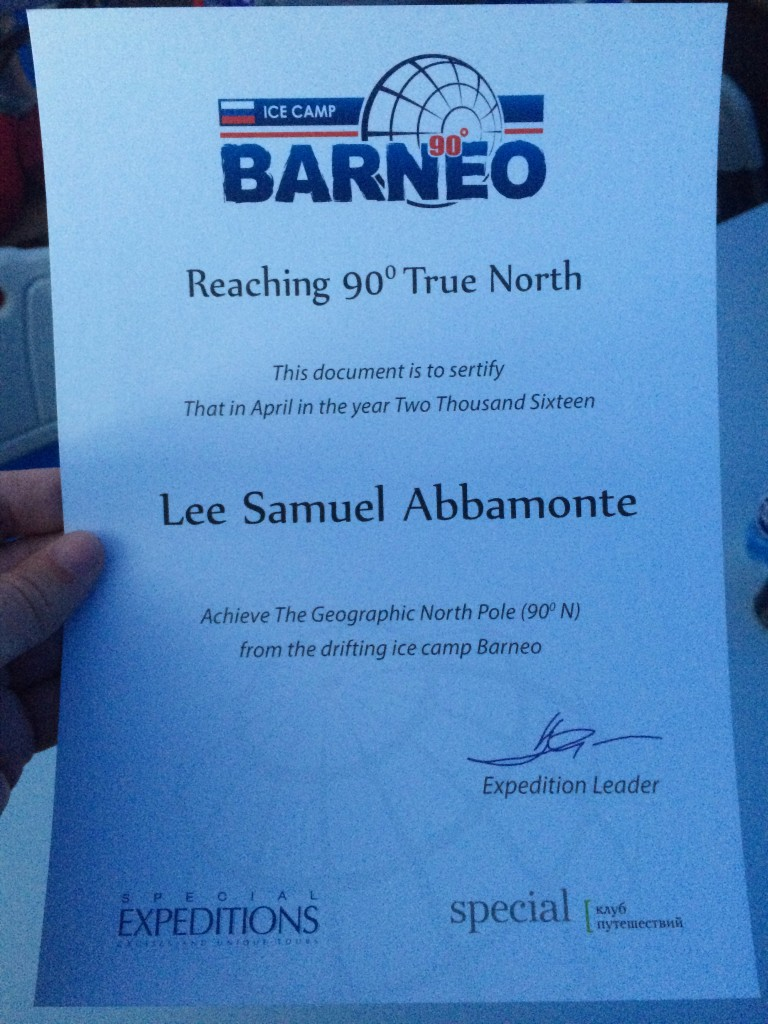 North Pole, The North Pole, How I made it to the North Pole, certificate