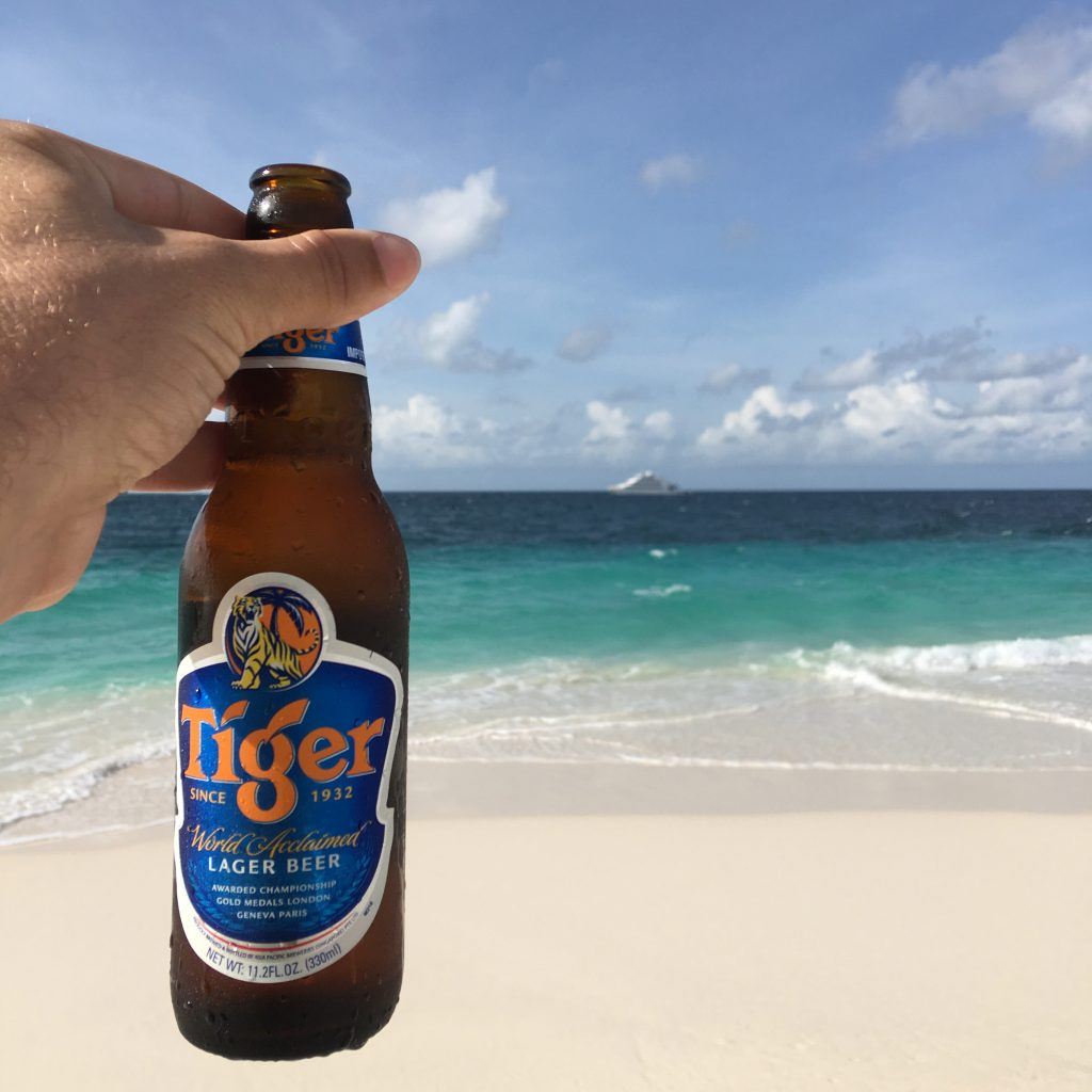 A Week on a Mega Yacht in the Maldives, Tiger beer