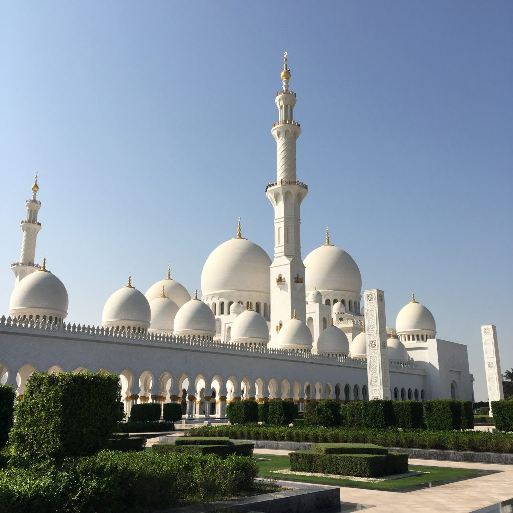 two things you must do in Abu Dhabi, Abu Dhabi, Emirates, United Arab Emirates, Sheikh Zayed Grand Mosque, Grand Mosque, mosque, first glimpse