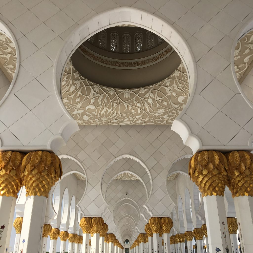 two things you must do in Abu Dhabi, Abu Dhabi, Emirates, United Arab Emirates, Sheikh Zayed Grand Mosque, Grand Mosque, mosque, hallway