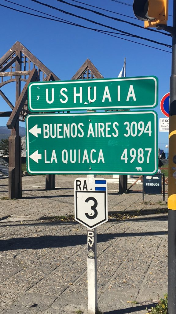 Two Days in Ushuaia, Argentina, Ushuaia, mileage sign