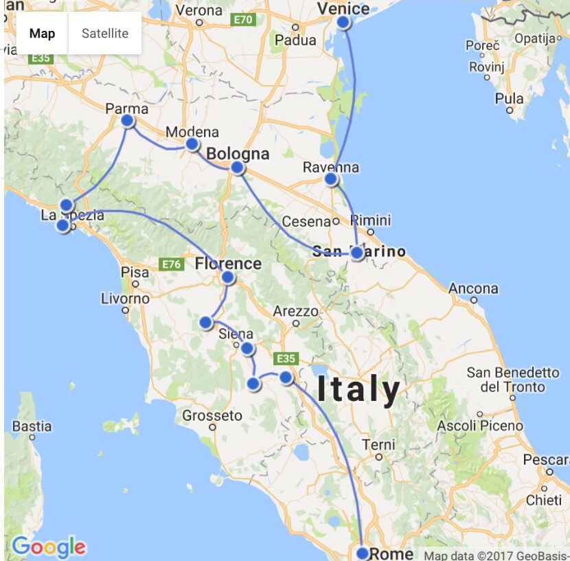 map of my road trip in italy