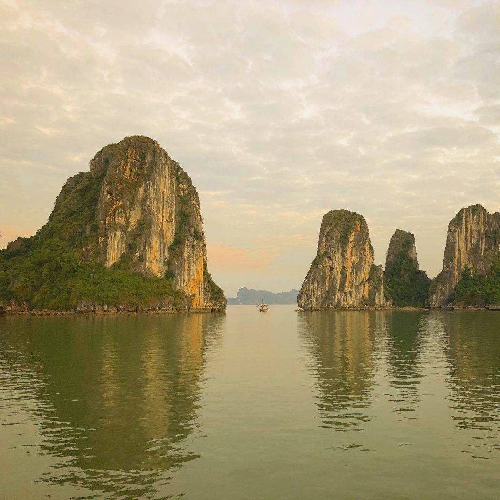 Seeing the limsetone islands of Ha Long Bay from the ship is fantastic