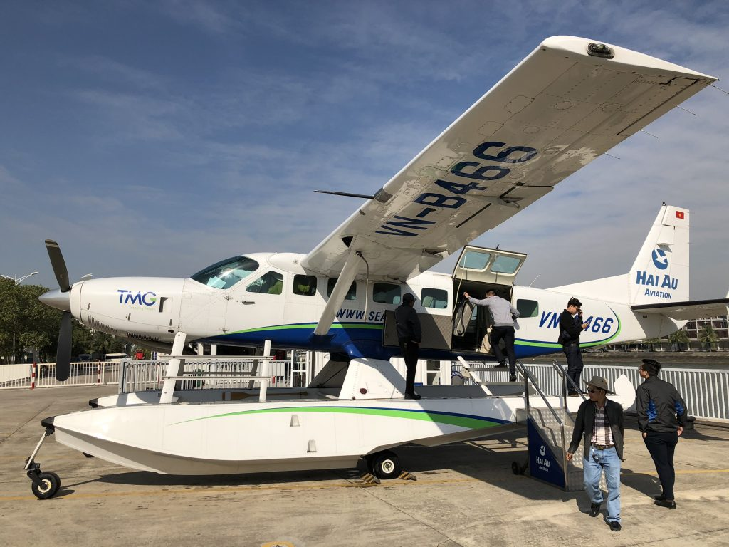 Hai Au Aviation 12 seater seaplane to see Ha Long Bay from the sky