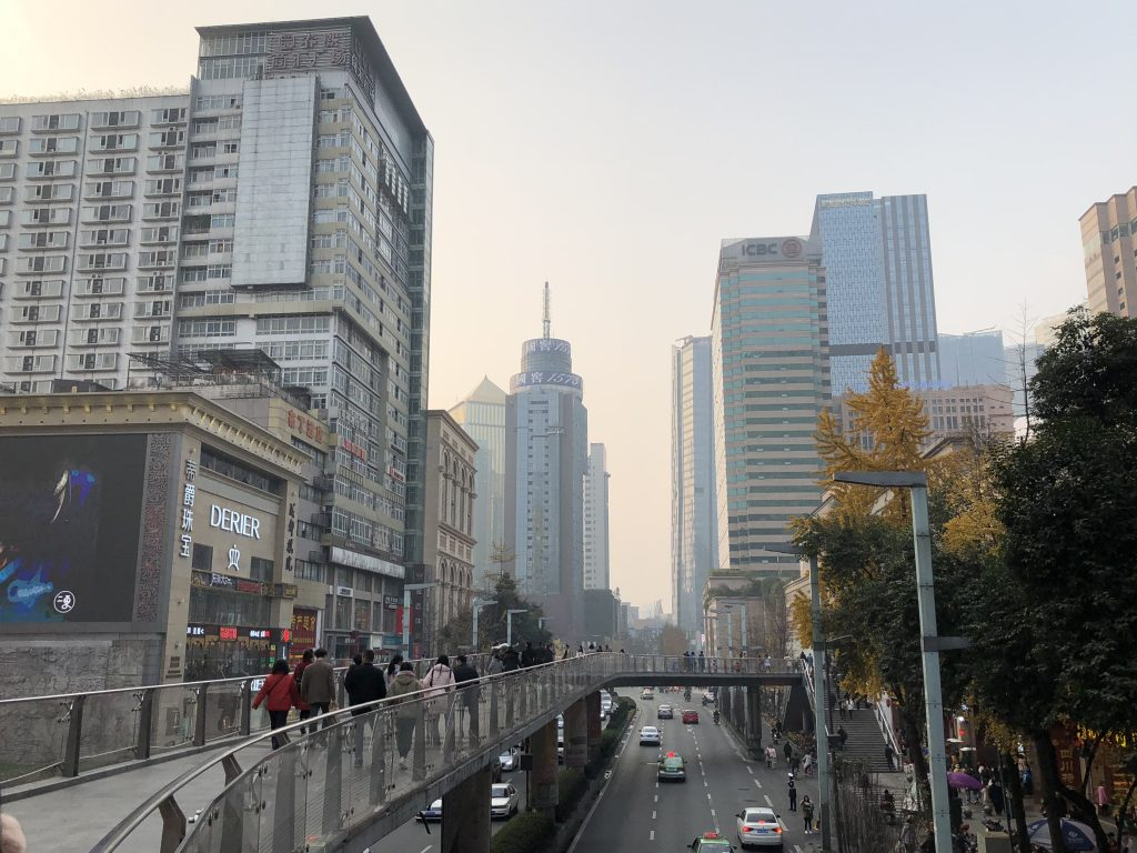 On an overpass in Chengdu crossing the street