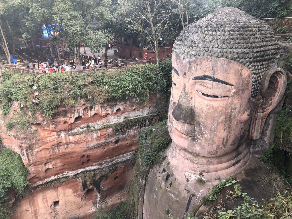 Leshan Giant Buddha head from the hike above it