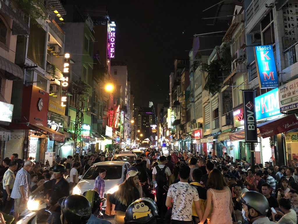 It's always busy at night in the Pham Ngu Lao Street area