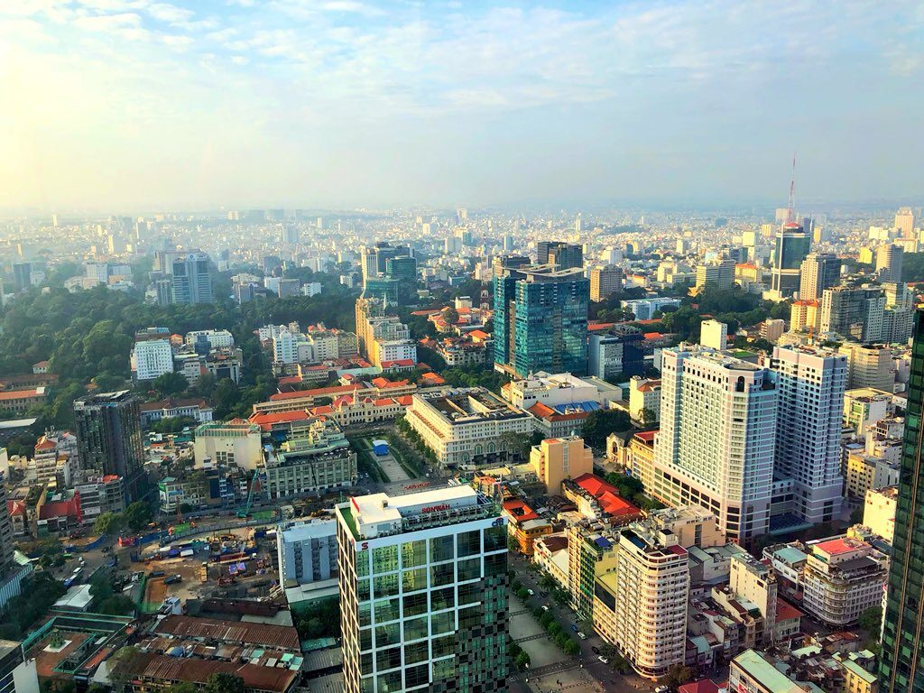 View from atop the Bitexco Financial Tower of Saigon