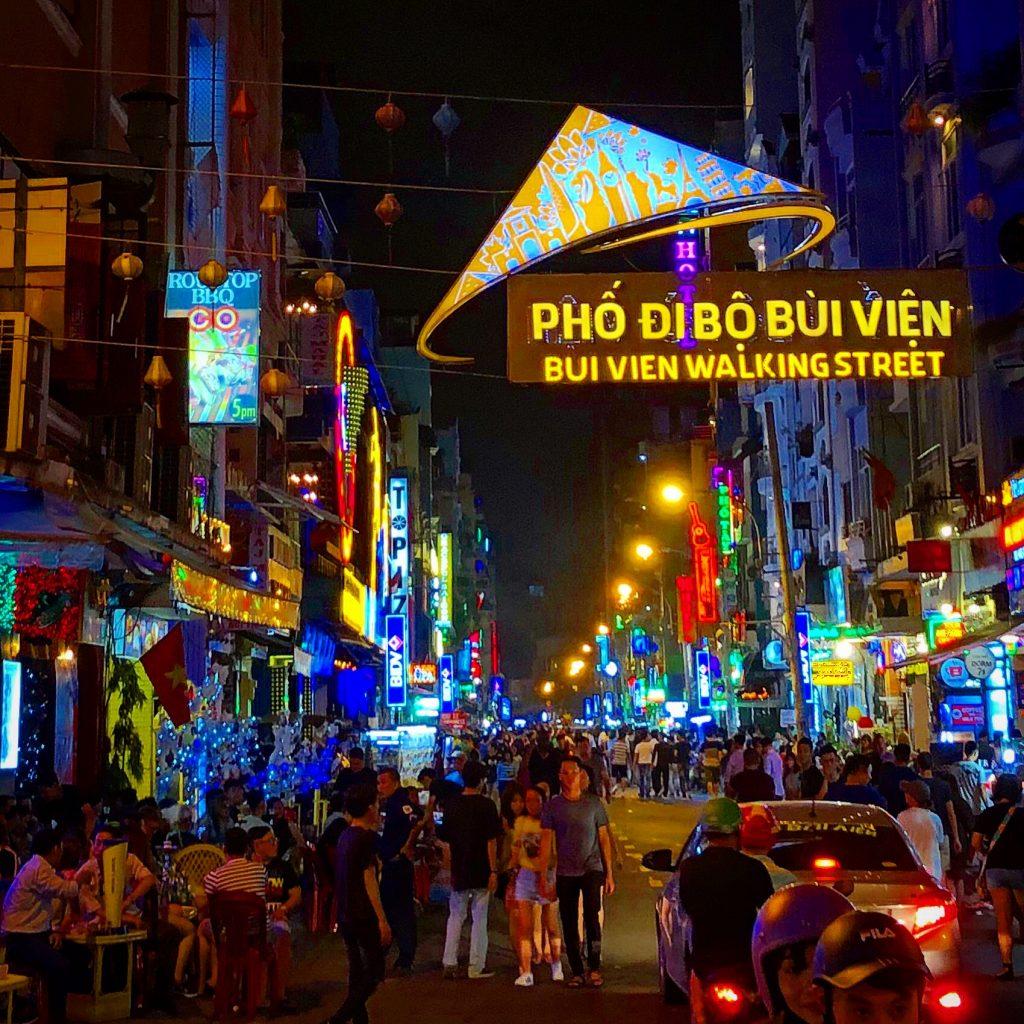 Walking around the Pham Ngu Lao Street area in Saigon