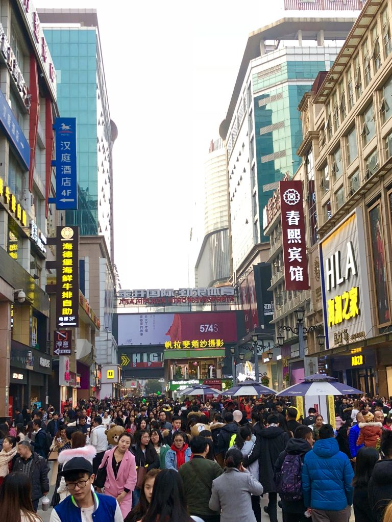 Super crowded on Christmas in Chengdu
