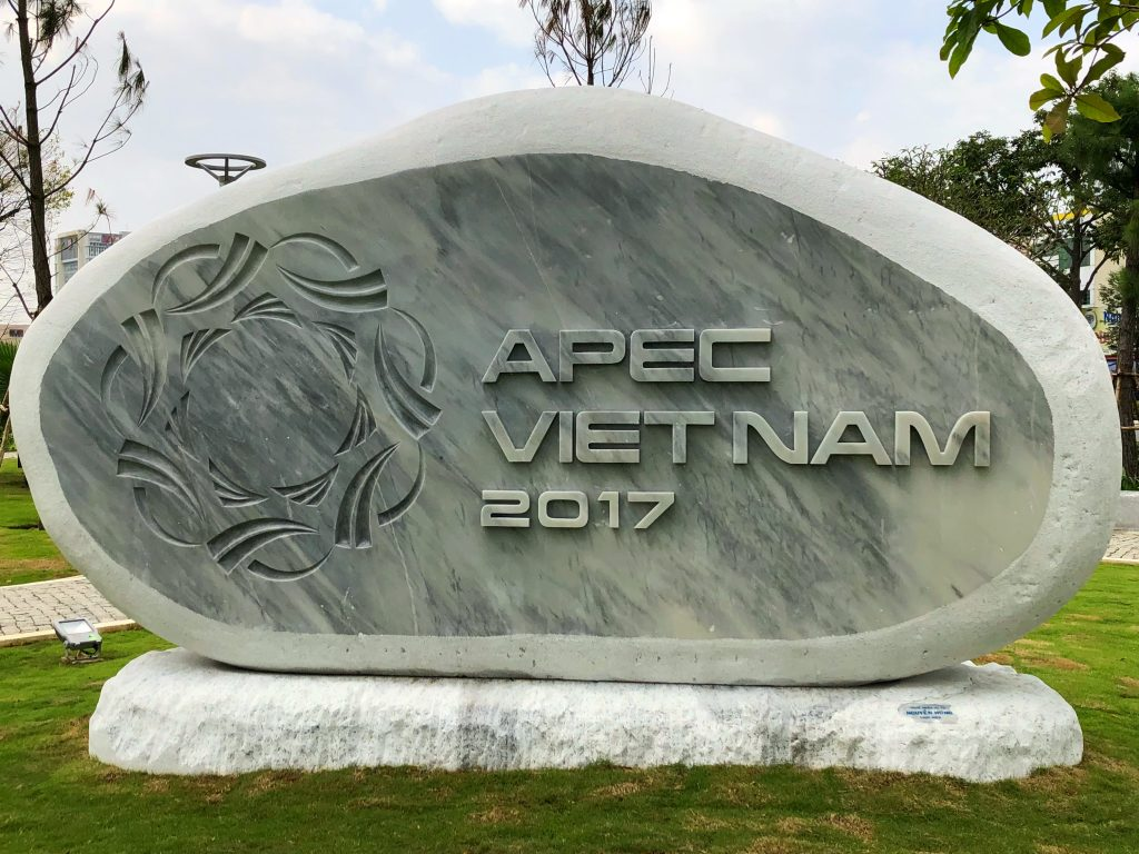 APEC Vietnam 2017 Sign in a newly constructed park in Danang
