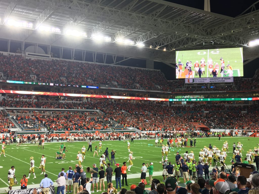 Pre-Game at Notre Dame vs Miami at Hard Rock Stadium
