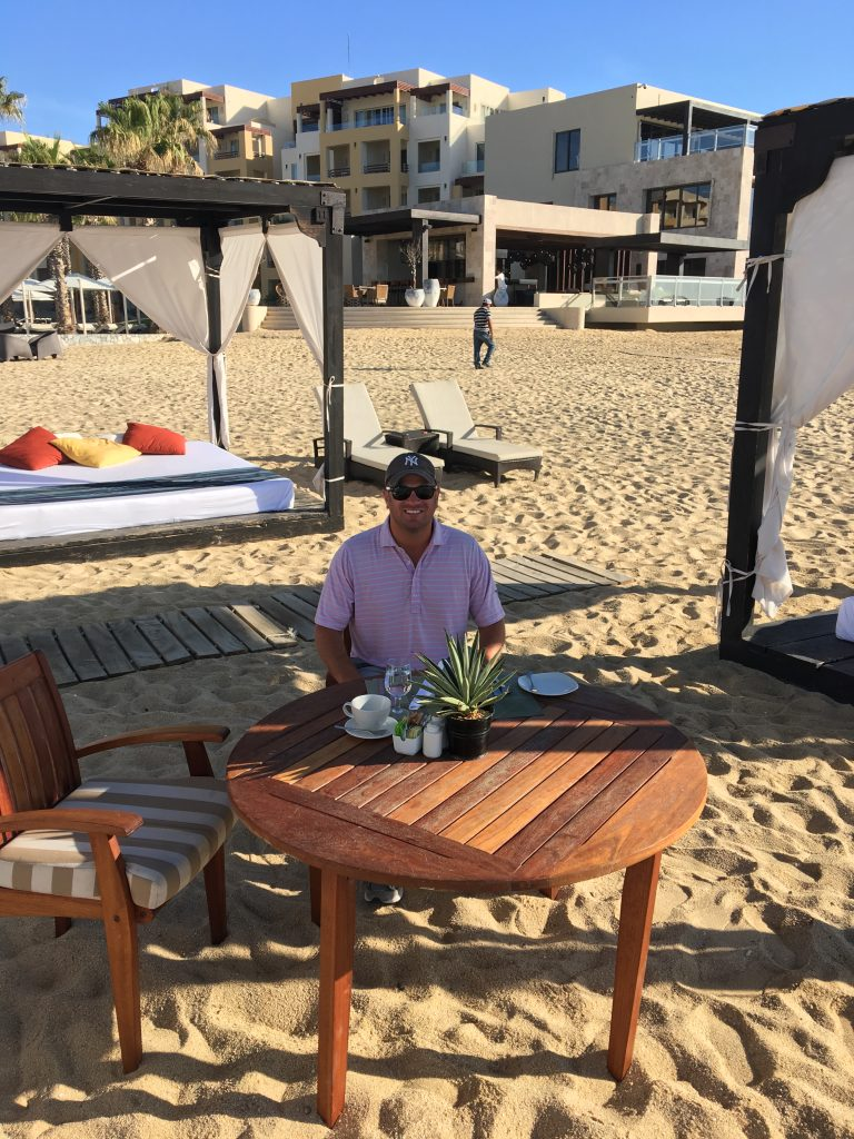 Breakfast for one on the beach in the Cabanas at the Pacifica Resort at Pueblo Bonito