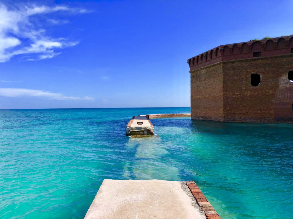 Hurricane Irma destroyed a portion of the seawall surrounding Fort Jefferson