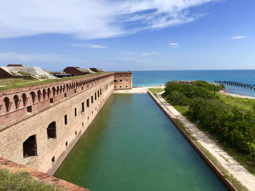 Moat view from atop Fort Jefferson in Dry Tortugas National Park