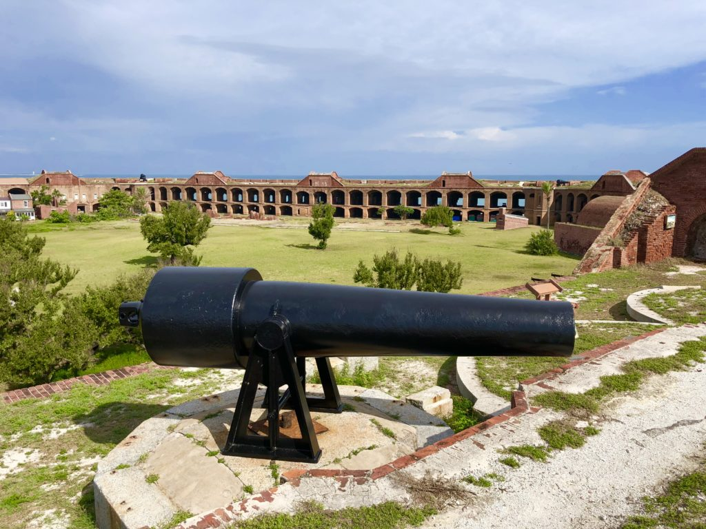 Cannons atop Fort Jefferson looking over the courtyard