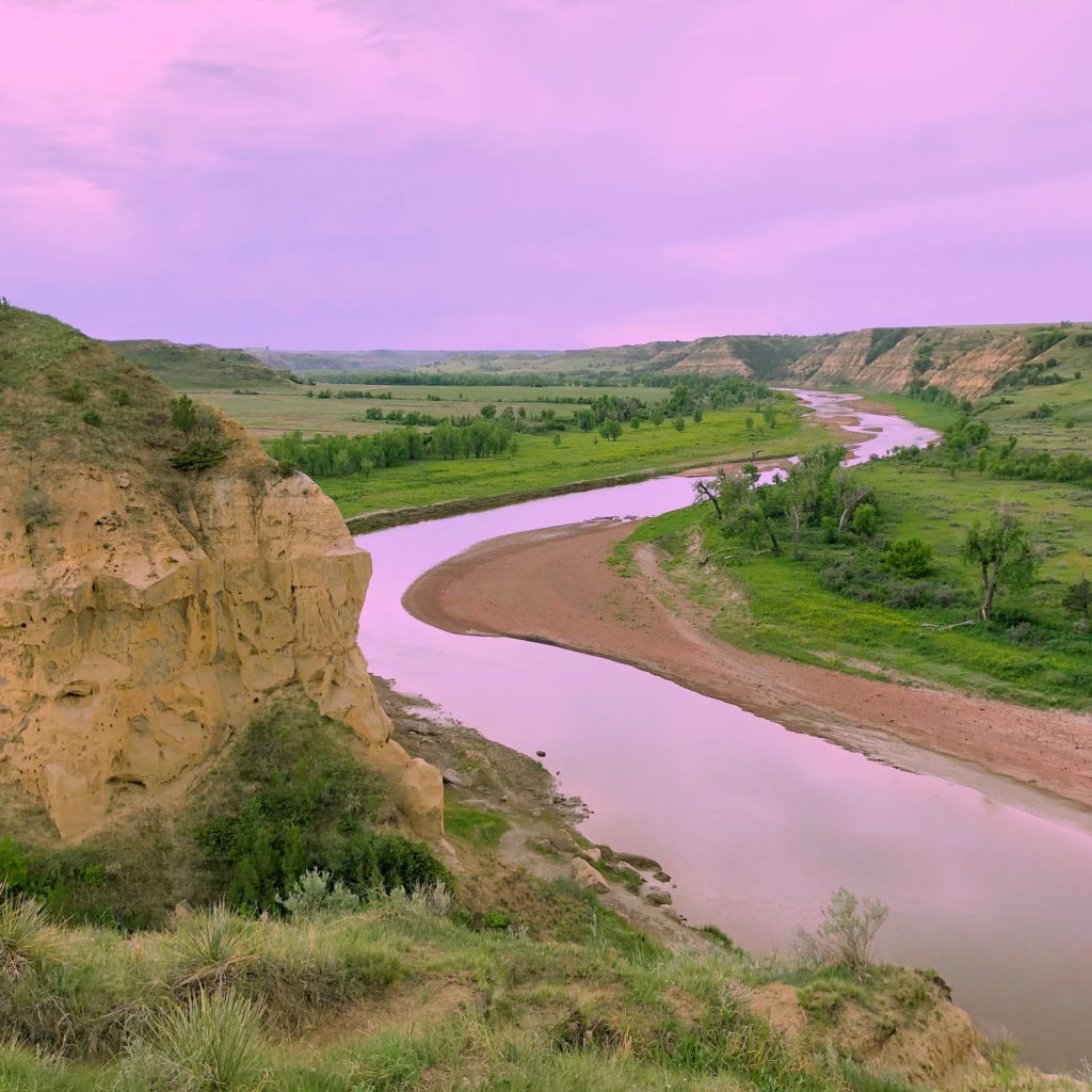 Amazing pink sky in Theodore Roosevelt National Park